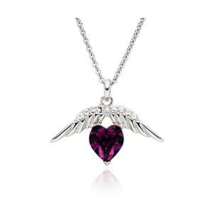 Naszyjnik ze Swarovski Elements Heart Prong Violet