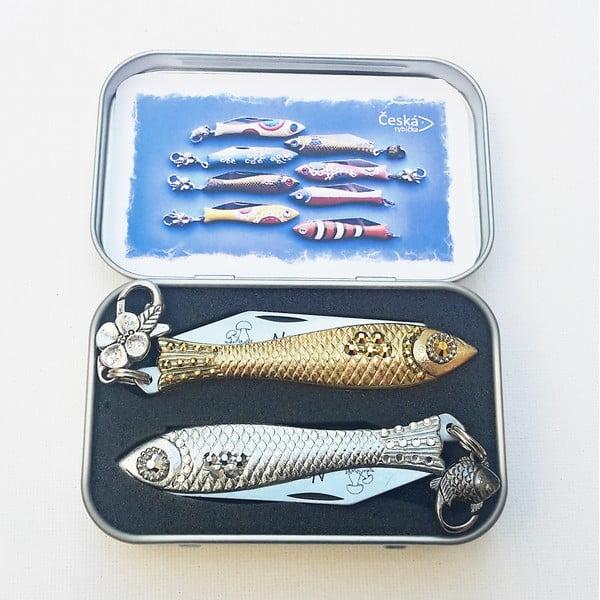 Zestaw scyzoryków rybek, złoty i srebrny