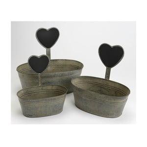 Komplet 3 doniczek Zinc Heart