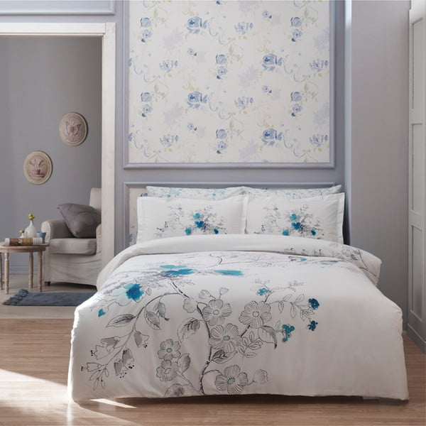 Pościel z prześcieradłem Simple White with Blue, 160x220 cm