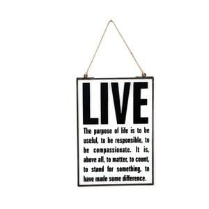 Szklana tabliczka z napisem Live, 22x33 cm