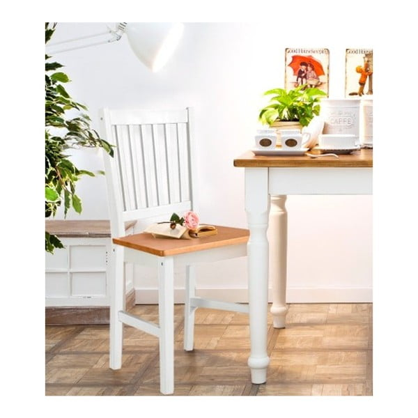 Zestaw 2 białych krzeseł z litego drewna 13Casa Ginger