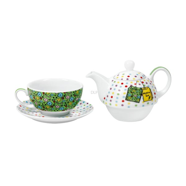 Zestaw do herbaty De Dames, green/white