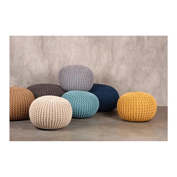 Turkusowy puf dziergany LABEL51 Knitted XL