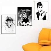 Trzyczęściowy obraz Audrey Hepburn, 45x90 cm