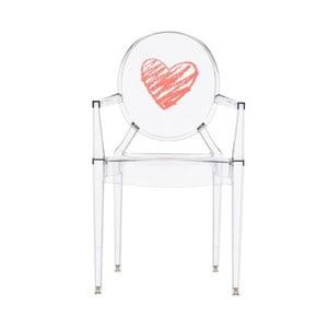 Przezroczyste krzesełko dziecięce Kartell Lou Lou Ghost Heart
