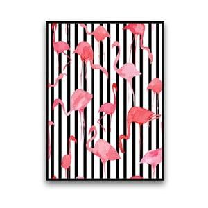Plakat z flamingami, czarno-białe pasy w tle, 30 x 40 cm