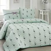 Pikowana dwuosobowa narzuta z poszewkami na poduszki Flamingo Mint, 200x220cm