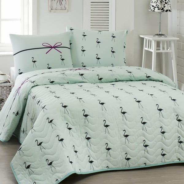 Pikowana narzuta z poszewkami na poduszki Flamingo Mint, 200x220cm
