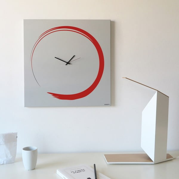 Zegar ścienny dESIGNoBJECT.it Enso Clock Red, 50 x 50 cm