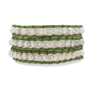 Jasnozielono-biała bransoletka Nova Pearls Copenhagen Néreus