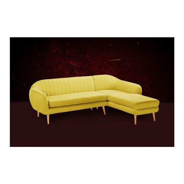 Żółty 3-osobowy narożnik prawostronny Stella Cadente Maison Comete