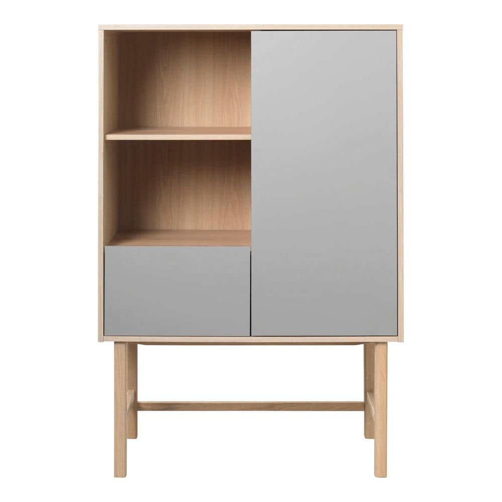 Szara komoda z nogami z drewna dębowego Unique Furniture Bilbao