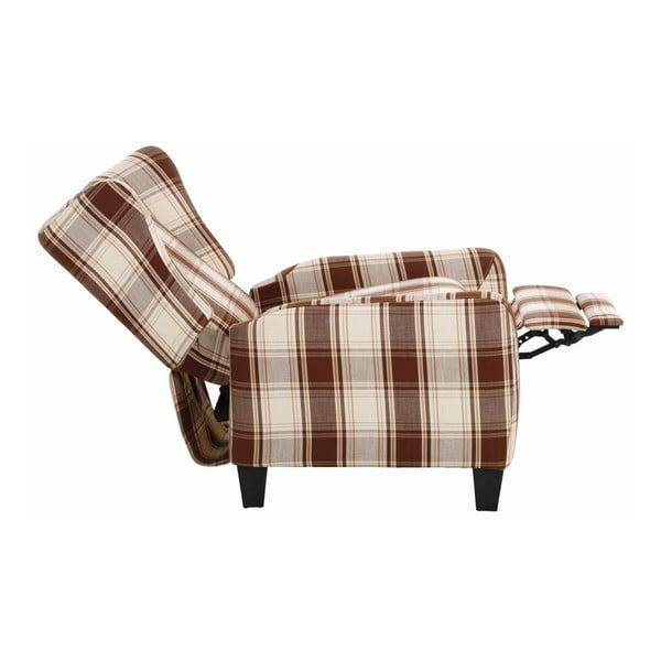 Brązowy fotel rozkładany w kratkę Støraa Aladdin