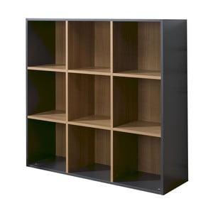 Czarno-brązowy regał z 9 półkami JUNIOR Provence Cube