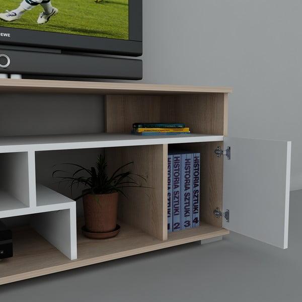 Stolik telewizyjny Leroy White, 38x140x55,2 cm