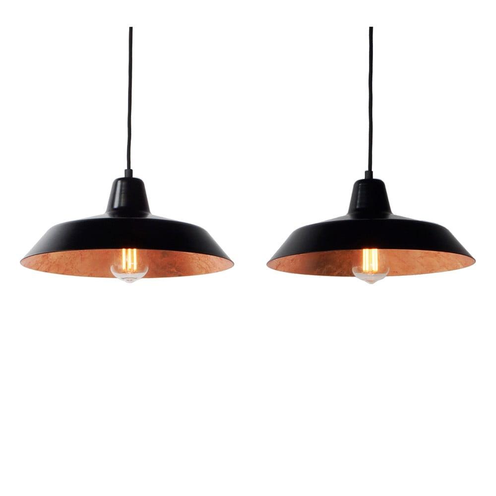 Lampa wisząca z 2 czarnymi kablami i kloszami w czarnym oraz miedzianym kolorze Bulb Attack Cinco