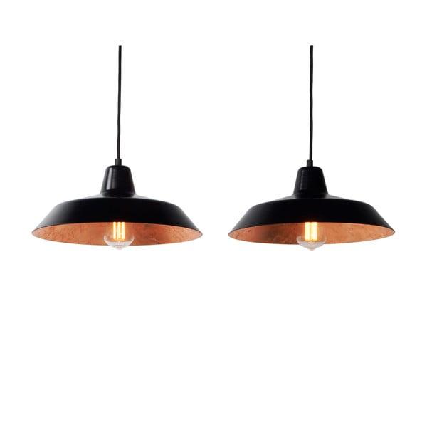 Zestaw   2 lamp wiszących Cinco, miedziano-czarna