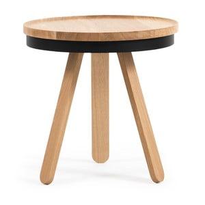 Drewniany stolik z czarnym blatem i tacą Woodendot Batea S