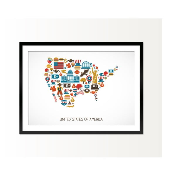 Oprawiony obraz USA, 50x70 cm