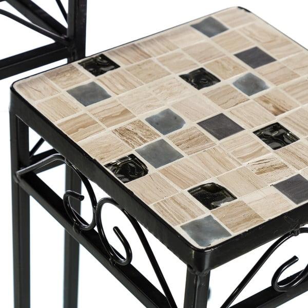 Zestaw 2 kwadratowych stolików z ceramicznym blatem Sea