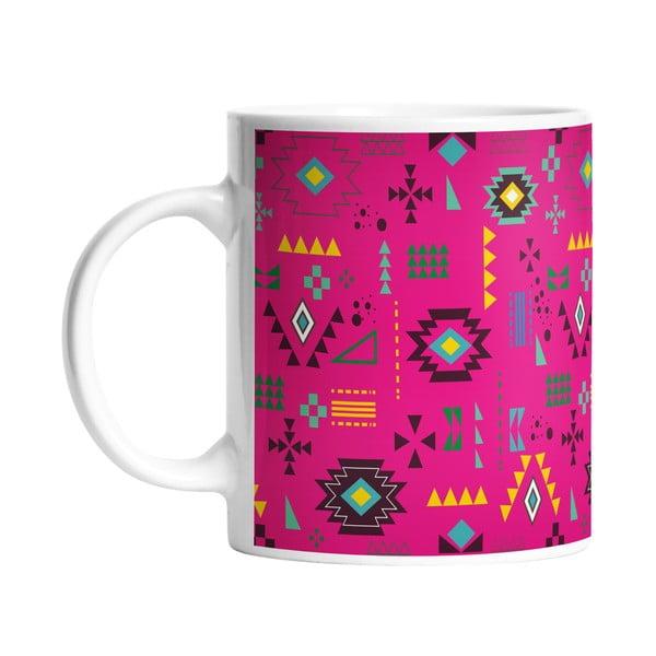 Kubek ceramiczny Pink Aztec, 330 ml