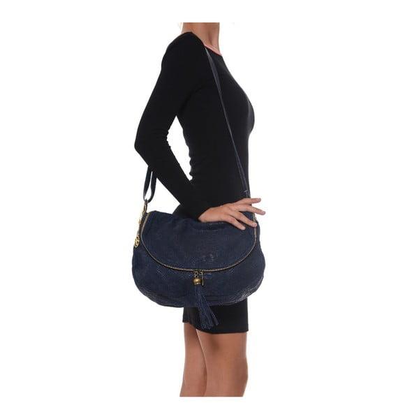 Skórzana torebka Carla Ferreri 815 Blu Scur