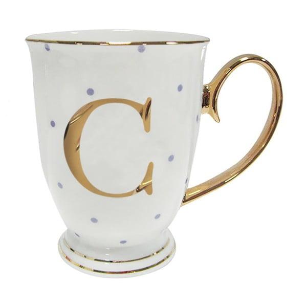 Kubek z literką C w liliowe groszki