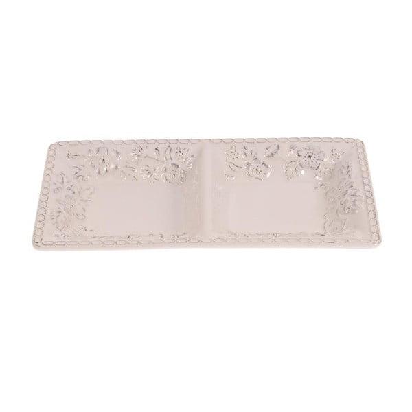 Podwójny talerz ceramiczny White Brushed, 30x17 cm