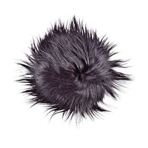Ciemna poduszka futrzana do siedzenia z długim włosiem, Ø 35 cm