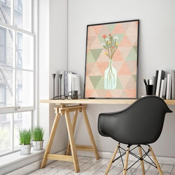 Plakat w drewnianej ramie Flowers in vase, 38x28 cm