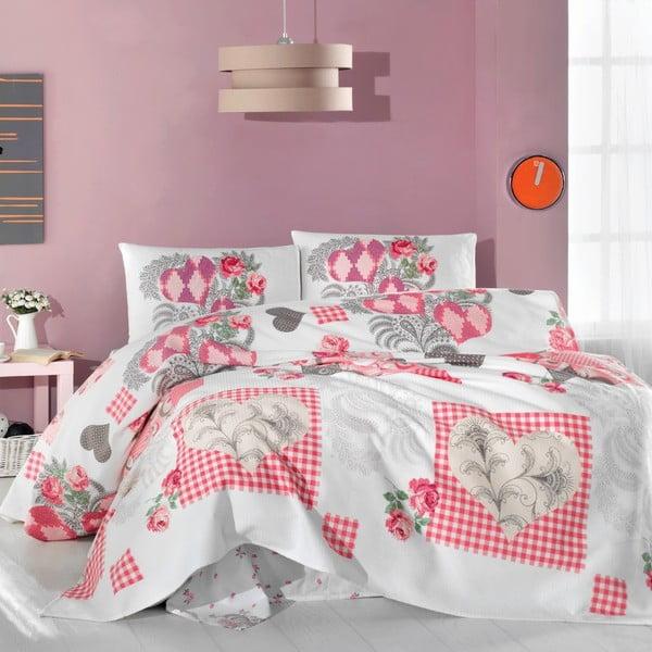 Komplet narzuty, prześcieradła i poszewek na poduszki Pink Angel, 200x230 cm