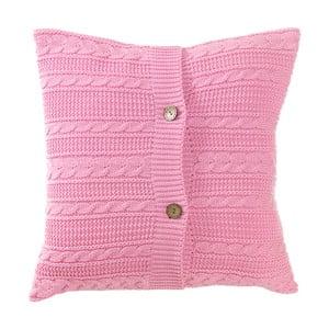 Różowa poszewka dziergana na poduszkę  Apolena Pinkie, 43x43 cm