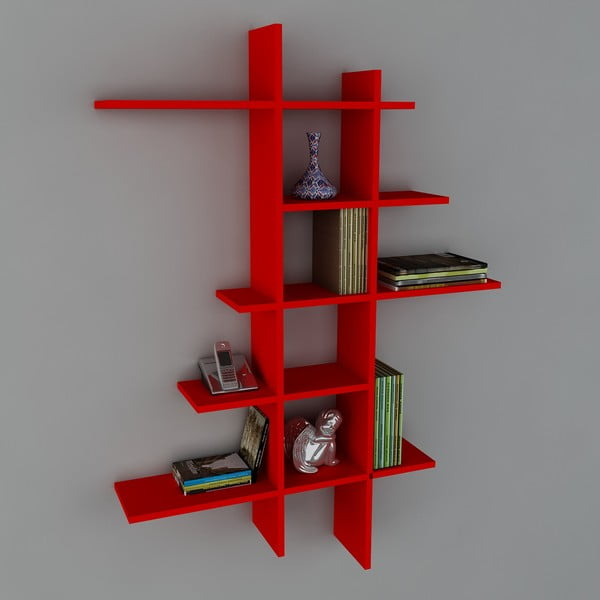 Półka Atlanta Book Red, 22x90x150 cm