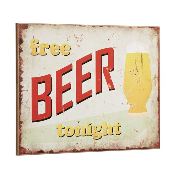Tablica Free Beer Tonight, 30x40 cm