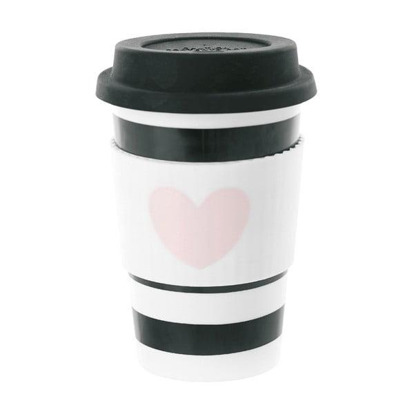 Ceramiczny kubek z przykrywką Heart Rose, 0,5 l