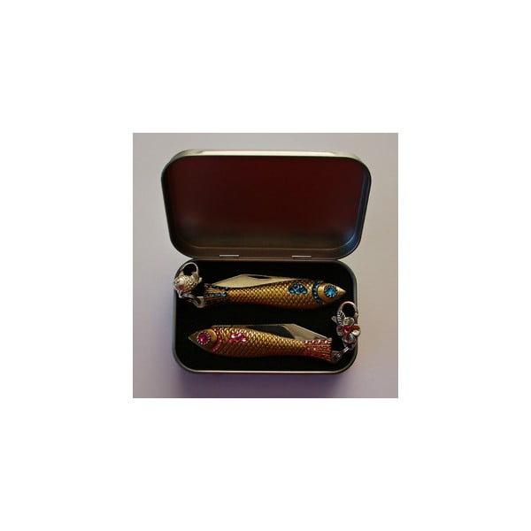 Komplet 2 scyzoryków rybka w opakowaniu podarunkowym, różowe i niebieskie kryształki