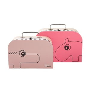 Zestaw 2 różowych kuferków Suitcase