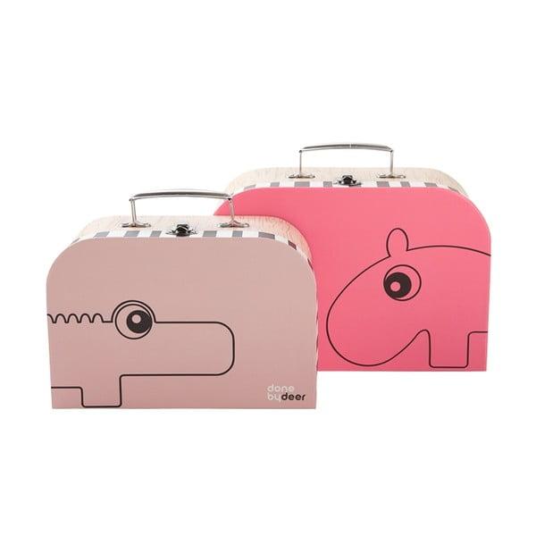 Zestaw 2 kuferków Suitcase, różowe