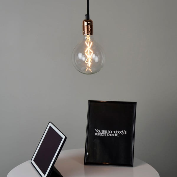 Miedziano-czarna lampa wisząca Bulb Attack Uno