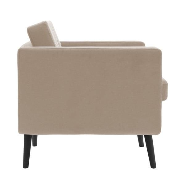 Beżowy fotel z czarnymi nogami Vivonita Sondero