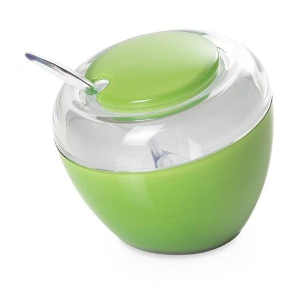Zielona cukierniczka z łyżeczką