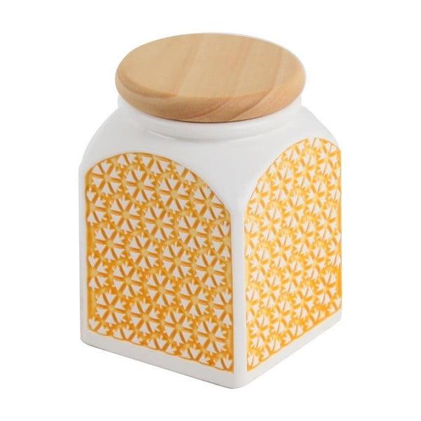 Doza ceramiczna Żółte słońce, 8x8x11 cm