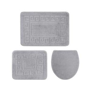 Zestaw 3 szarych dywaników łazienkowych i pokrowca na klapę WC Confetti Ethnic, 40x50 cm