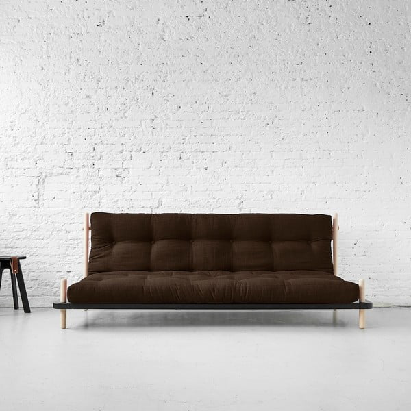 Sofa rozkładana Karup Point, Black/Raw Beech/Choco Brown