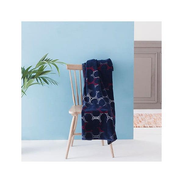 Ciemno-niebieski ręcznik kąpielowy Casa Di Bassi Hexa, 100x180 cm