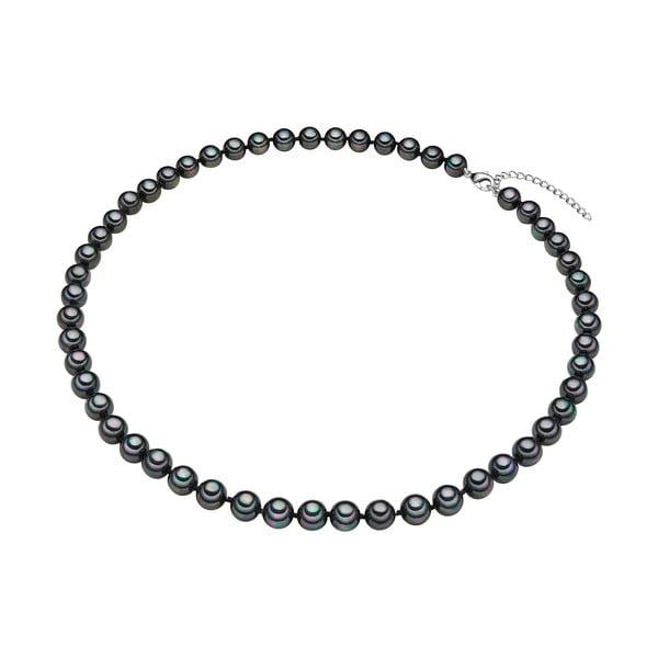 Perłowy naszyjnik Muschel, antracytowe perły 8 mm, długość 50 cm