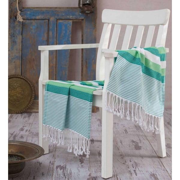 Zielony ręcznik Hammam Pamukkale Green, 100x180 cm