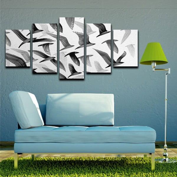 Wieloczęściowy obraz Black&White Birds, 100x50 cm