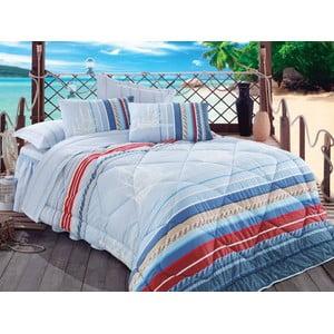 Narzuta, poszewki na poduszkę i ozdobna falbana wokół łóżka Orsa Blue, 195x215 cm